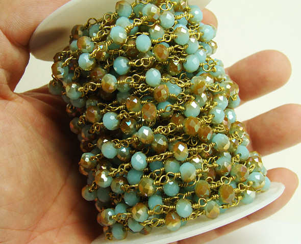 5x6mm Priced For One Foot Blue Gold Glass With Brass Chain