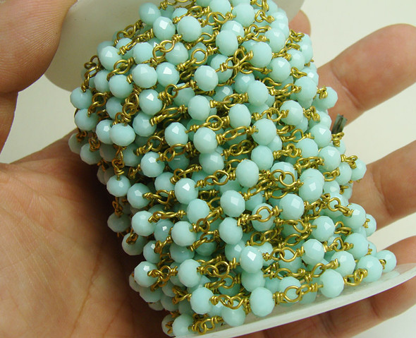 5x6mm Priced For One Foot Light Aqua Glass With Brass Chain