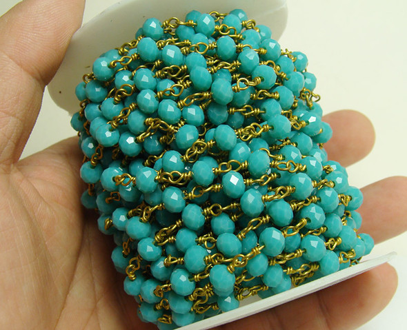 5x6mm Priced For One Foot Turquoise Blue Glass With Brass Chain