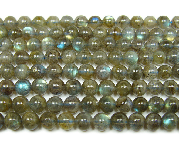 High quality labradorite round beads with blue iridescence (6mm)
