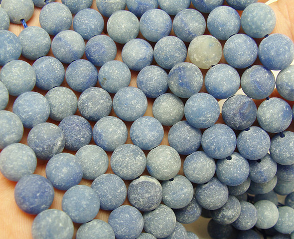 10mm  15.5 inches Blue aventurine matte round beads