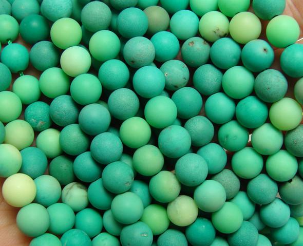 8mm Australian Green Grass Agate Matte Round Beads