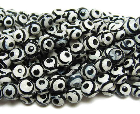 8mm Tibetan Style Black And White Agate Third Eye Beads