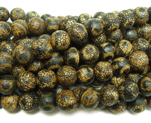 8mm Antiqued black Tibetan style agate third eye beads