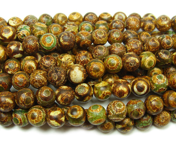 8mm Antiqued Greenish Brown Tibetan Style Third Eye Beads