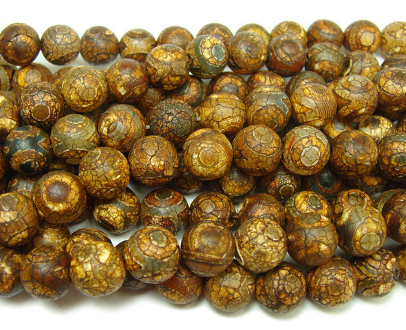 12mm Tibetan Style Agate Brown Third Eye Beads
