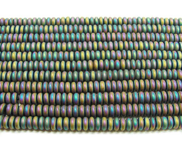 2x4mm Multi color hematite matte rondelle beads