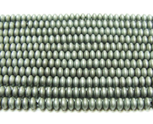 2x4mm Hematite gray matte rondelle beads