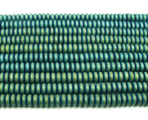 2x4mm Hematite green matte rondelle beads