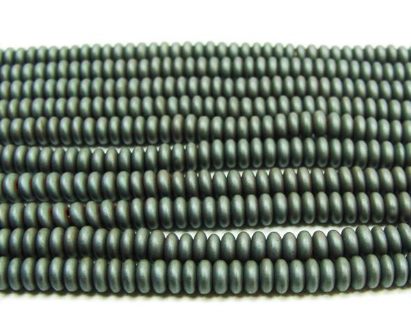 2x4mm Hematite dark gray matte rondelle beads