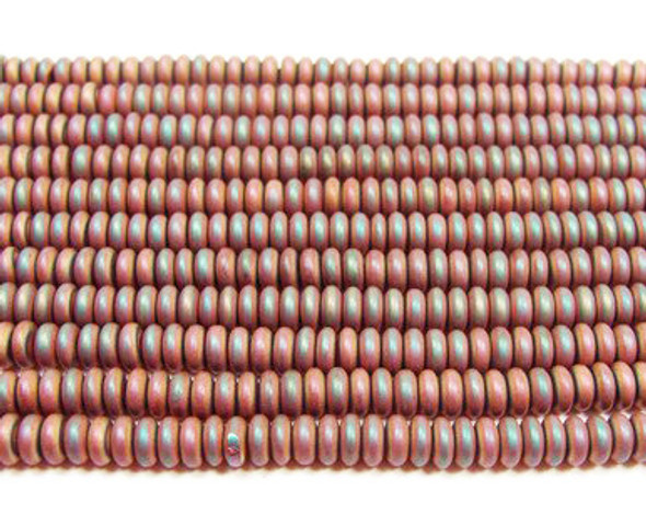 2x4mm Hematite dusty red matte rondelle beads