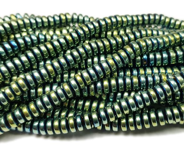 2x4mm Hematite Light Green Wheel Beads