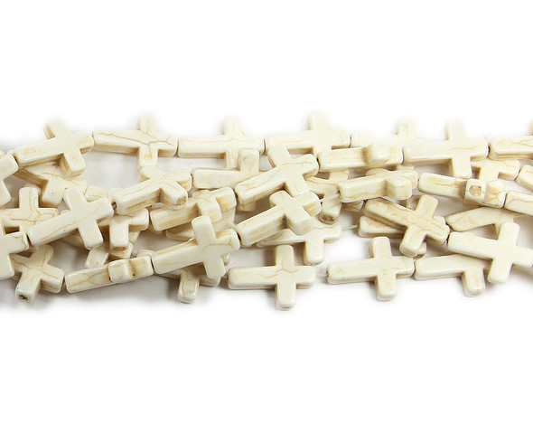 "15x20mm  16"" strand White howlite cross beads"