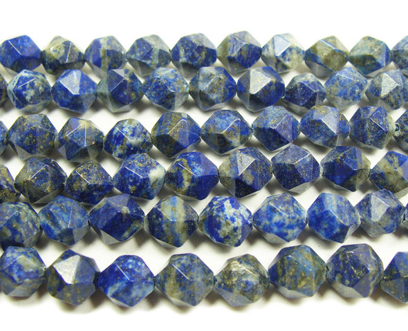 Lapis faceted round nugget beads (10mm, 8 inches)