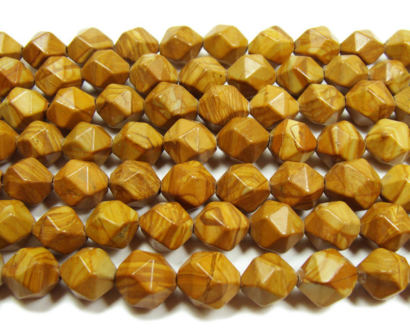 Scene jasper faceted round nugget beads (10mm, 16 inches)