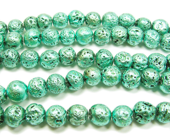 8mm Light green metallic lava round beads