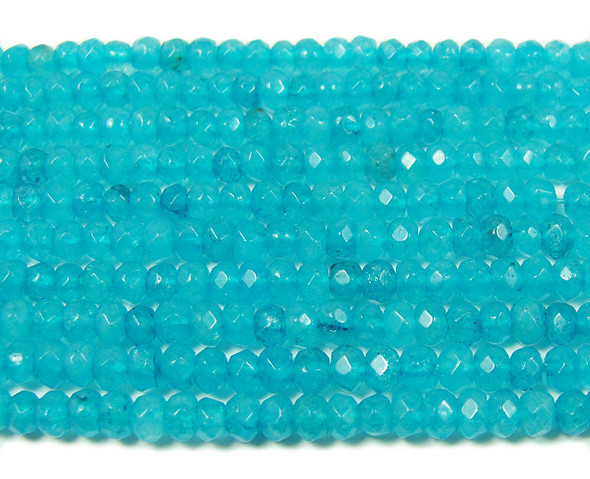2x4mm  14.5 inches Sea blue jade faceted rondelle beads