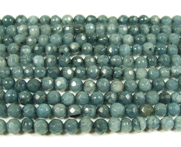 4mm  15 inches Gray jade faceted round beads
