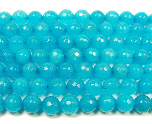 8mm  15 inches Sea blue jade faceted round beads