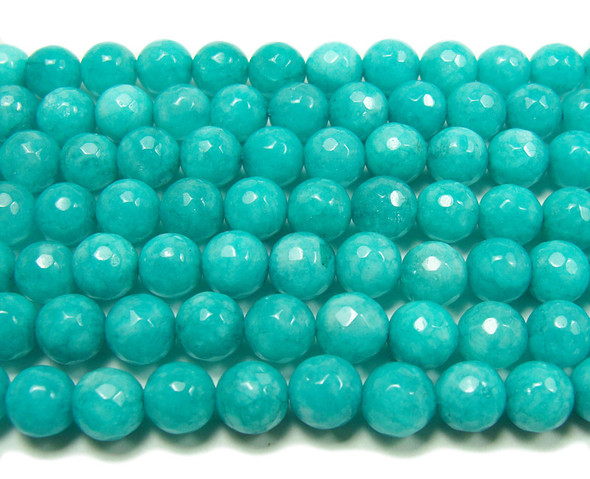 8mm  15 inches Sea green jade faceted round beads