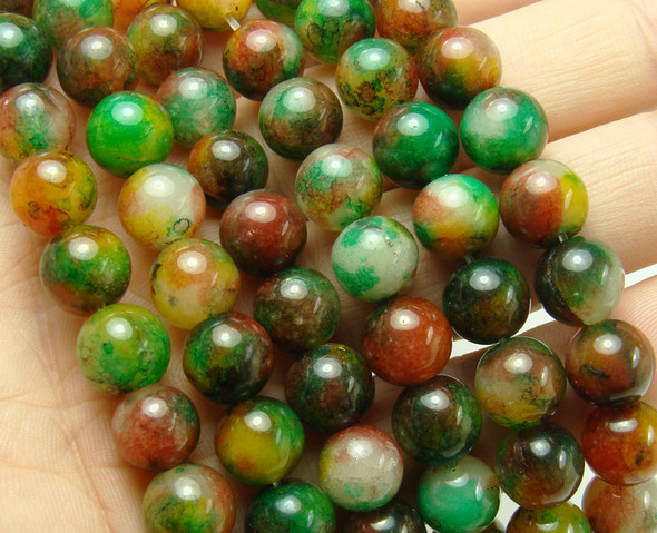 10mm Multi green and brown jade jade round beads