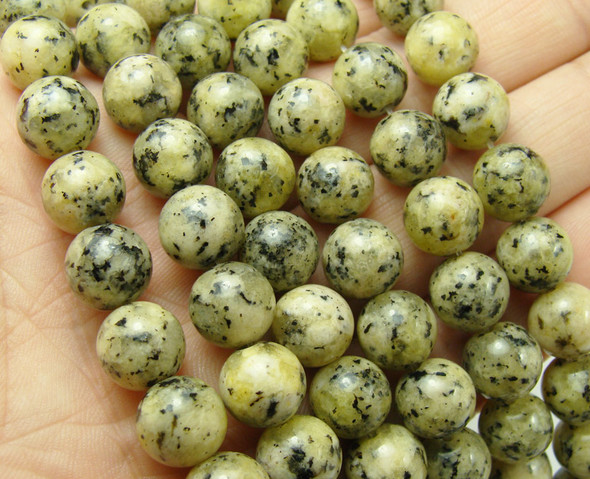 10mm Tan Kiwi Jade Smooth Round Beads