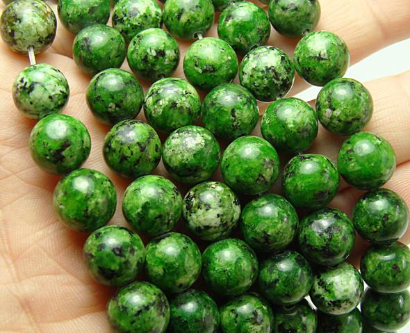 10mm Grassy Green Kiwi Jade Smooth Round Beads