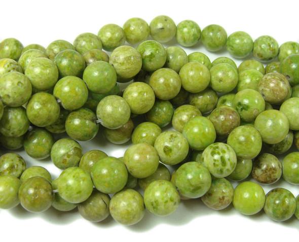 8mm Light Yellow Green Jade Round Beads