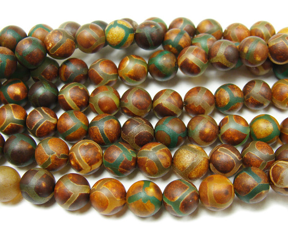 8mm Tibetan Style Agate Green Line Soccer Smooth Beads