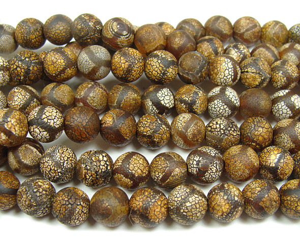 10mm Antiqued Agate Brown Soccer Beads
