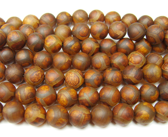 8mm Antiqued Agate Reddish Brown Soccer Beads