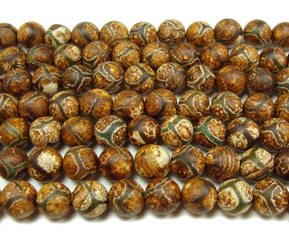 10mm Antiqued Agate Green Line Soccer Beads