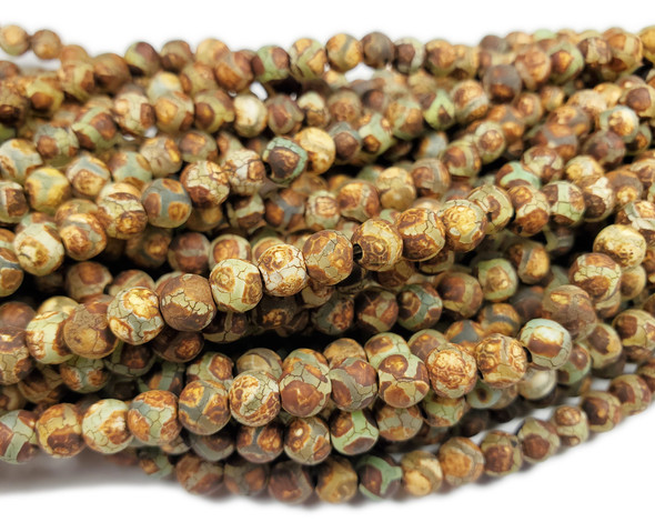 6mm Antiqued Agate Green Line Soccer Beads