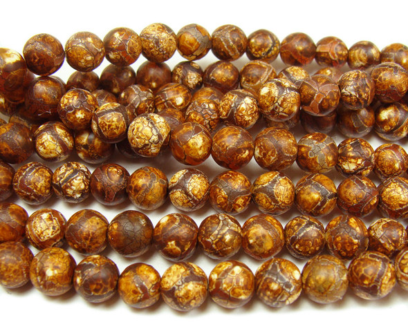 6mm Antiqued Agate Reddish Brown Soccer Beads