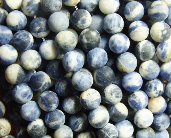 Sodalite calcite matte round beads