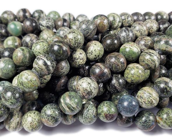 8mm 15.5 Inches Green Scene Jasper Round Beads