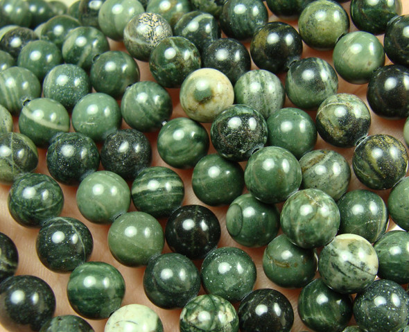 6mm 15.5 inches Green scene jasper round beads