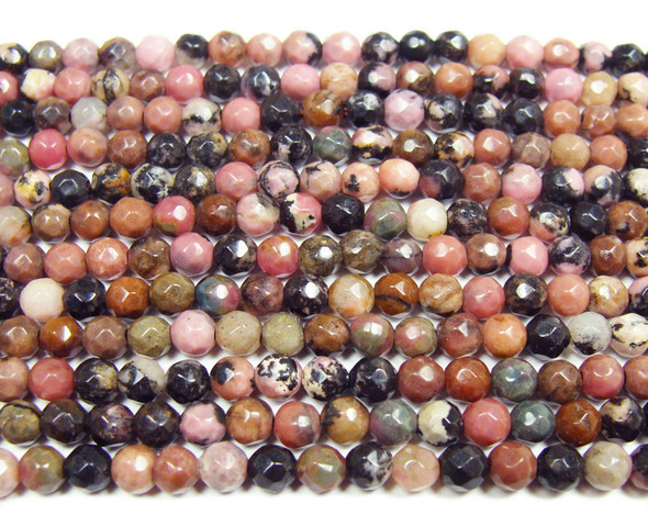 "4mm  15"" Rhodonite faceted round beads with black lines"