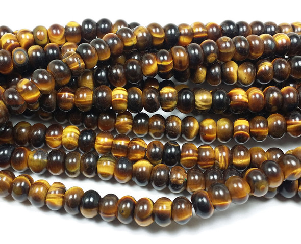 5x8mm Tiger Eye Smooth Rondelle Beads