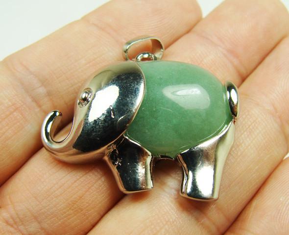 28x35mm Green Aventurine Large Elephant Pendant