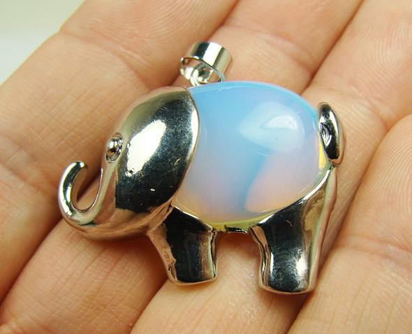 20x27mm Opalite Small Elephant Pendant