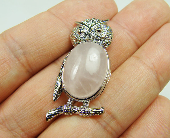 18x35mm Metal Frame Rose Quartz Owl Pendant