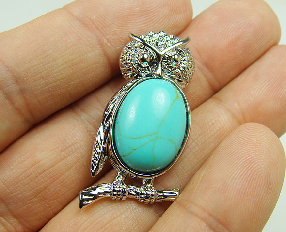 18x35mm Metal Frame Turquoise Howlite Owl Pendant
