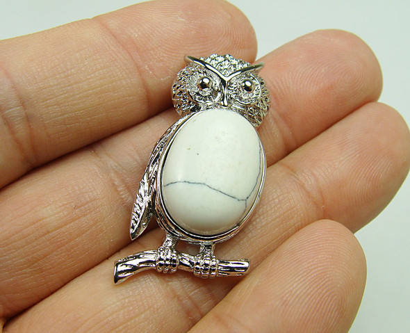 18x35mm  metal frame White howlite owl pendant