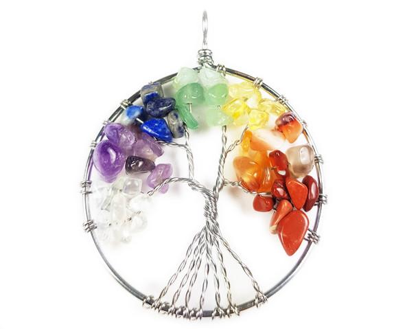 50mm Multi Stone Tree Of Life Silver Wire Pendant