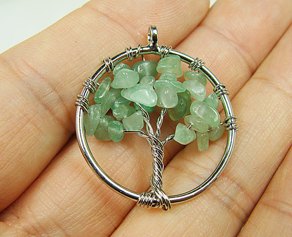 30mm Green aventurine tree of life silver wire pendant