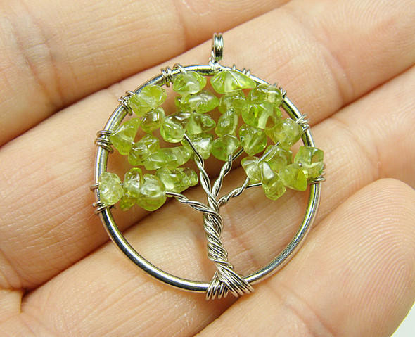 30mm Peridot tree of life silver wire pendant