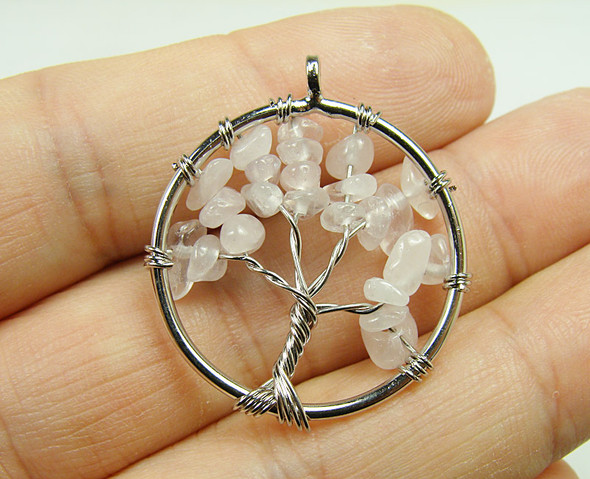 30mm Rose Quartz Tree Of Life Silver Wire Pendant