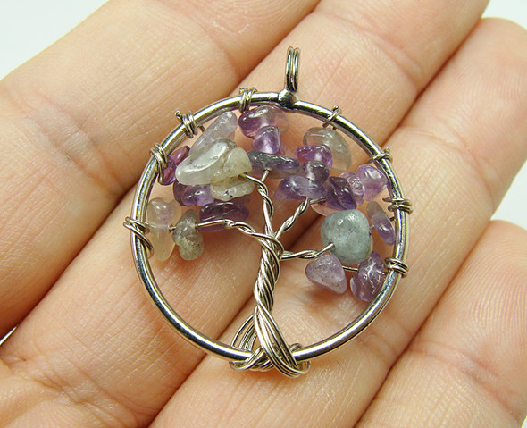 30mm Amethyst Tree Of Life Silver Wire Pendant