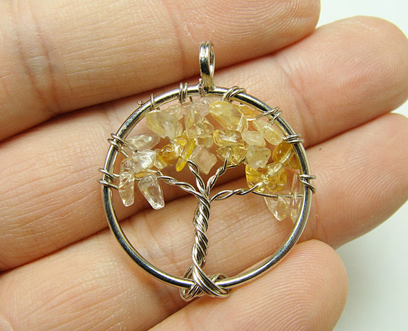 30mm Citrine tree of life silver wire pendant